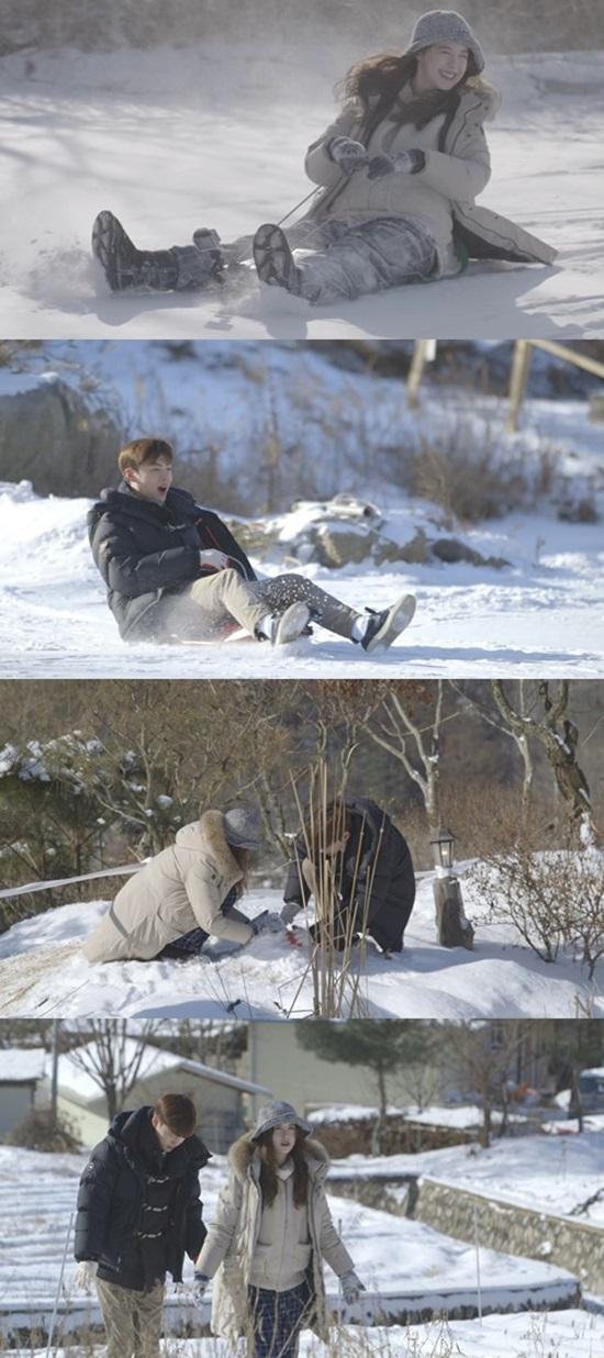 '신혼일기' 구혜선♥안재현 부부 설원 데이트. 두 사람은 눈썰매를 타며 동심으로 돌아갔다. /tvN 제공