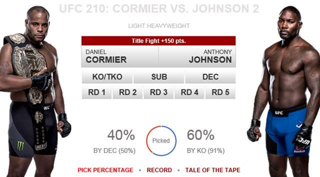 코미어 vs 존슨, UFC 210 맞대결. 4월 9일 열리는 UFC 210에서 코미어(왼쪽)-존슨의 UFC 라이트헤비급 타이틀전이 펼쳐진다. 팬들은 존슨의 우세를 더 많이 전망하고 있다. /UFC 홈페이지 캡처