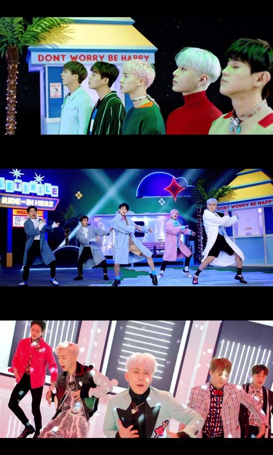 '얼굴 찌푸리지 말아요' 뮤직비디오. 그룹 하이라이트는 20일 발표한 첫 미니앨범 타이틀곡 '얼굴 찌푸리지 말아요'로 활발한 활동을 펼친다. /'얼굴 찌푸리지 말아요' MV 캡처