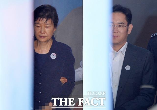 서울중앙지법 형사합의27부(부장판사 김진동)는 17일 오는 19일 열리는 이재용(49 ·오른쪽) 삼성전자 부회장 재판에 증인으로 채택된 박근혜 전 대통령(65)에 대해 구인장을 발부했다. /이효균·남윤호 기자