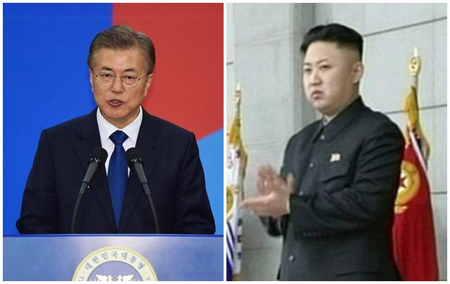 문재인 정부는 17일 북한에 남북 군사당국회담과 적십자회담을 동시 제안했다. 사진은 문재인(왼쪽) 대통령과 북한 김정은 노동당 위원장./배정한 기자, 서울신문 제공